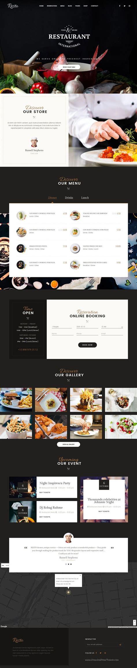wordpress restaurant layout resto multipurpose restaurant cafe wordpress theme 웹