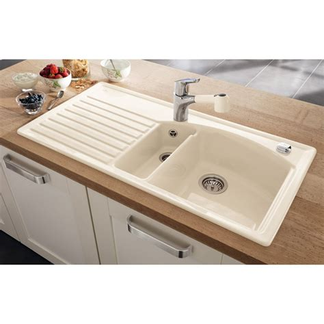 white ceramic kitchen sinks villeroy boch arcora 60 1010mm x 510mm 1 5 bowl white