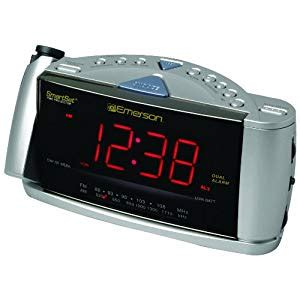 emerson cks3528 smartset projection clock radio with dual alarms silver atomic alarm clock