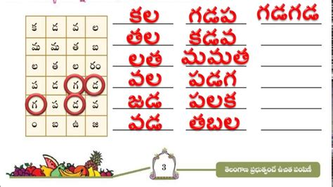 words from letters 4th class telugu page no 3 telugu words from