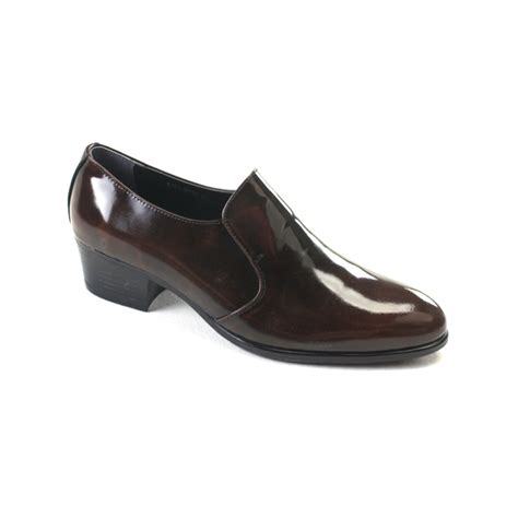 high heel loafers for s brown cow leather high heel loafers