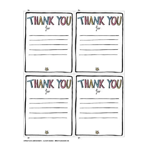thank you card for from student template thank you printable jennie moraitis