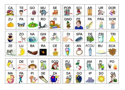 formare parole con lettere sparse tombola delle sillabe aiutodislessia net