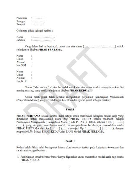 70 contoh surat perjanjian kerjasama usaha bersama