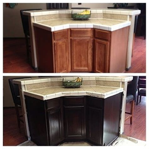 Stained Kitchen Cabinets Before And After Gel Stained Cabinets In Espresso Before And After Cape Cod House Pinterest Stains
