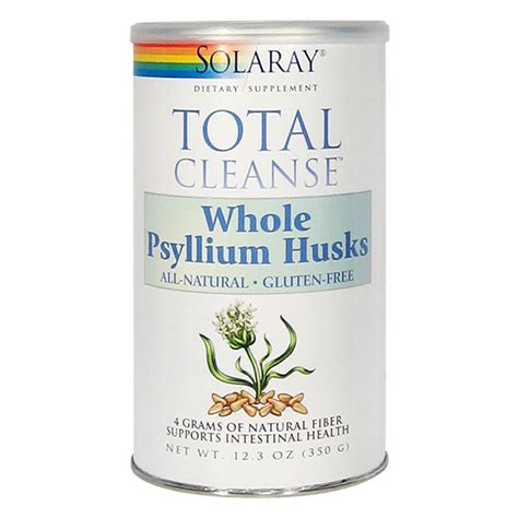 Psyllium Husk Detox by Solaray Total Cleanse Whole Psyllium Husks Container 12 3