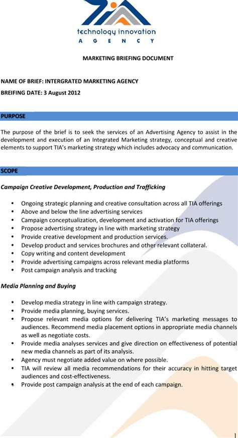 marketing brief template sle marketing brief templates free premium