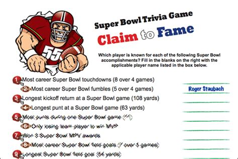 printable bowl games printable super bowl trivia game claim to fame