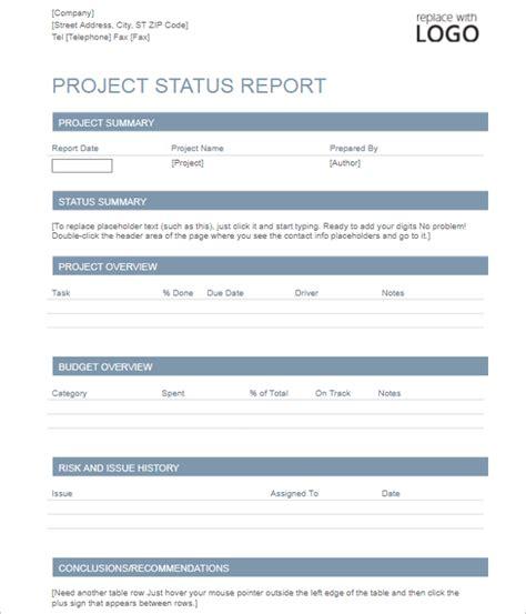Creative Project Status Report Template