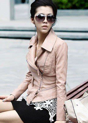 new style womens korea leather jacket pink coat outerwear fur clothing j041 drop