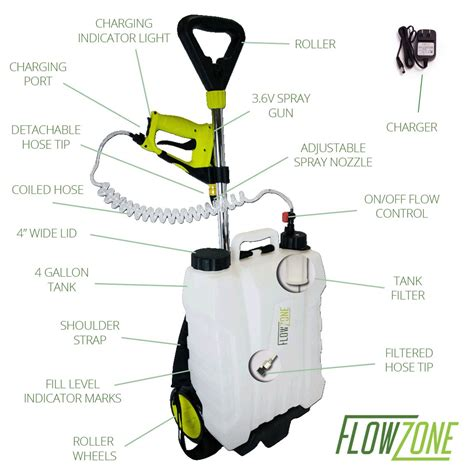 Battery Powered Garden Sprayer by Flowzone 4 Gal Multi Use 3 6v Battery Powered Backpack Or Rolling Garden Sprayer Ebay