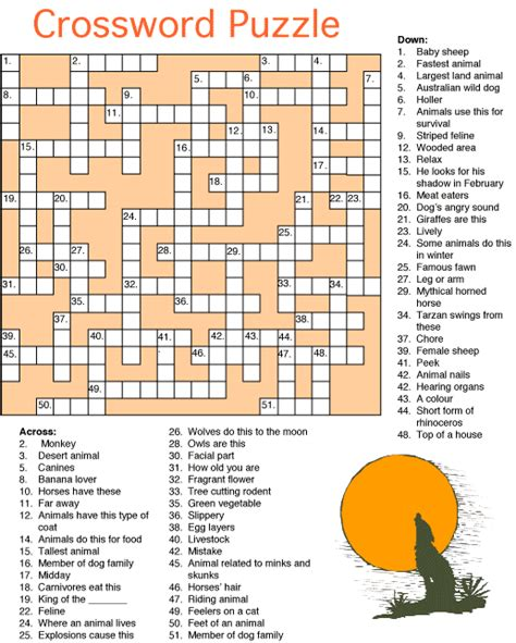 Printable Crossword Puzzle Animals | animal crossword puzzle