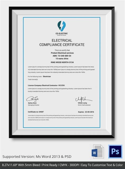 Certificate Of Compliance Template 9 Free Word Pdf Documents Download Free Premium Templates Electrical Safety Certificate Template