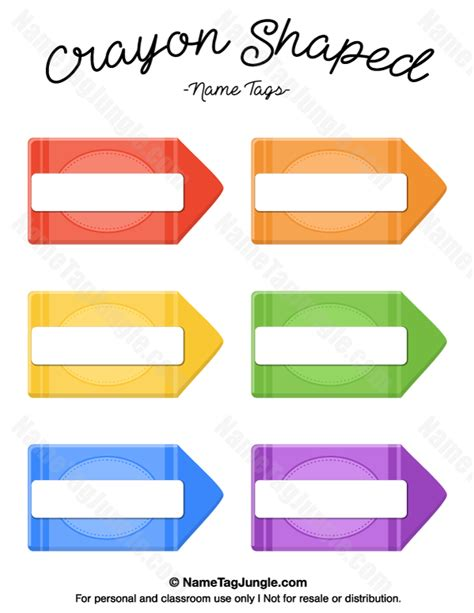 crayon labels template free printable crayon shaped name tags the template can