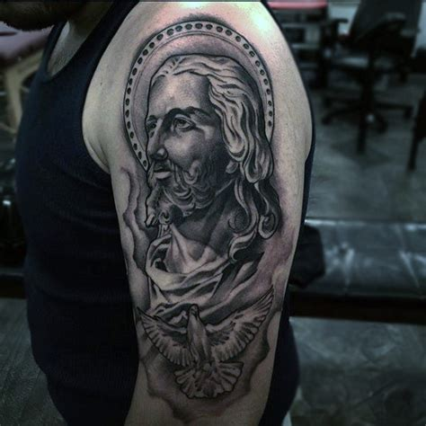 jesus forearm tattoo mens arm of jesus with flying dove