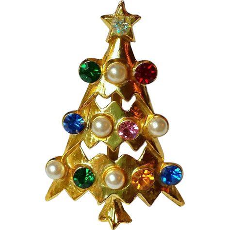 multi color pearl christmas lights vintage atomic tree brooch multi color rhinestones faux margaritavillemarket