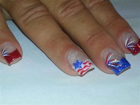 Red Acrylic 4th Of July Nils | 4th of july acrylic nails red white and blue nails