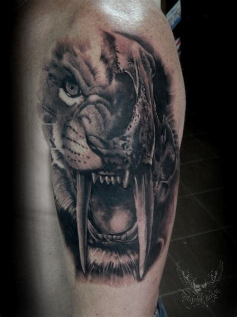saber tooth tiger tattoo j 252 rgen platzer certified artist
