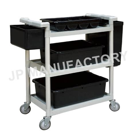 Kitchen Cart Plastic Restaurant Use Grey Plastic Utility Cart Service Cart