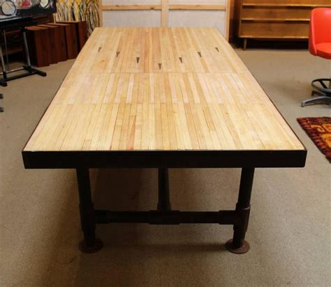 Industrial Reclaimed Bowling Alley Floor Dining Table At Bowling Alley Table