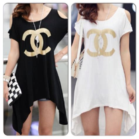 Coco Channel You Tshirt dress t shirt dress chanel inspired summer dress blouse wheretoget