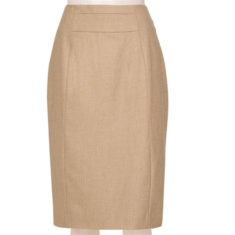 tailored linen blend oatmeal pencil skirt custom fit