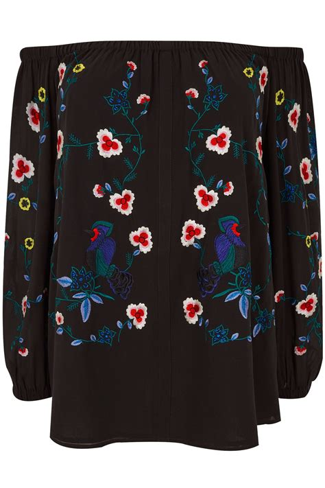 background images in div yours black floral embroidered bardot top plus