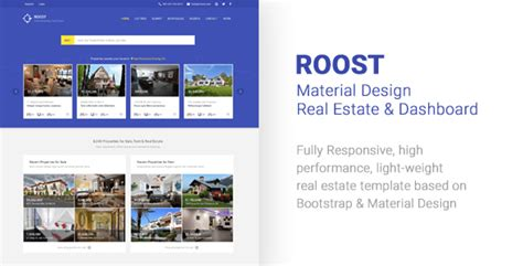 Roost Material Design Real Estate Dashboard By Rushenn Themeforest Real Estate Dashboard Templates