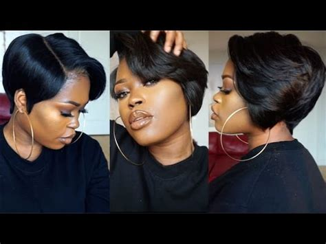 diy  piece  lace frontal tapered bob wig youtube