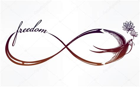 infinity tattoo vector infinity symbol with swallow illustration stock vector