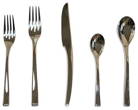 Steel Place Setting Set Of 5 Modern Flatware And | steel place setting set of 5 modern flatware and