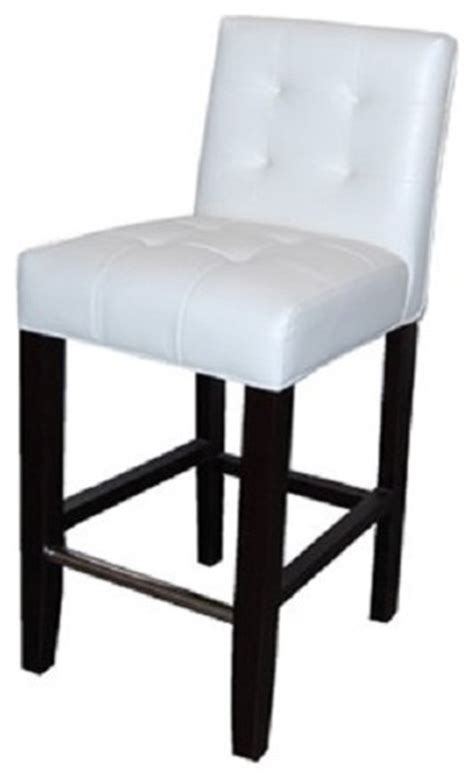 White Leather Counter Height Stools Low Back Tufted Leather Stool White 26 Quot Counter Height