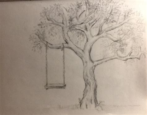 tree with swing drawing tree swing drawing