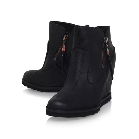 ugg boots wedge heel ugg myrna wedge heel ankle boots in black lyst