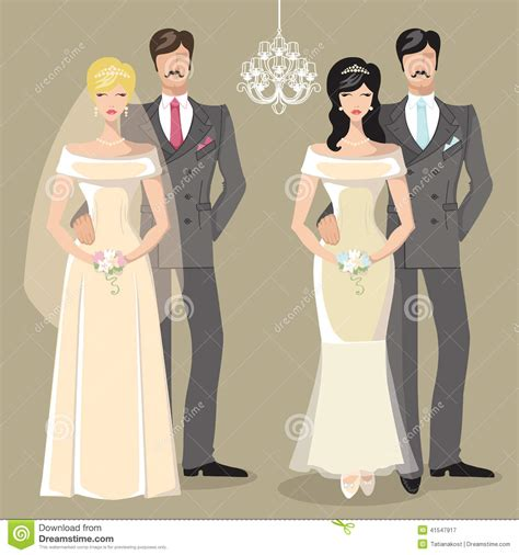 cute wedding set of cartoon couple bride and groom stock
