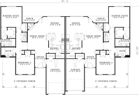 four bedroom duplex house plans candlewick park duplex home plan 055d 0394 house plans