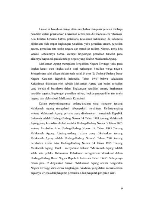 Peradilan Agama Dalam Bingkai Reformasi peranan lembaga peradilan dalam pelaksanaan kekuasaan kehakiman di in