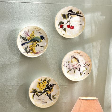 home decoration beautiful antique bird style porcelain tea modern bird flower decorative wall dishes porcelain decorative plates vintage home decor crafts