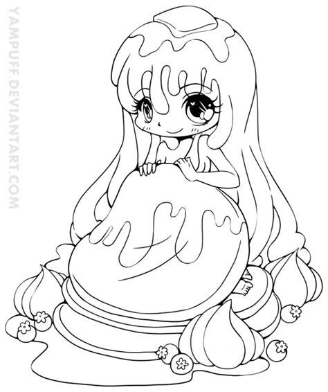 chibi food coloring pages pancake girl chibi lineart by yampuff on deviantart