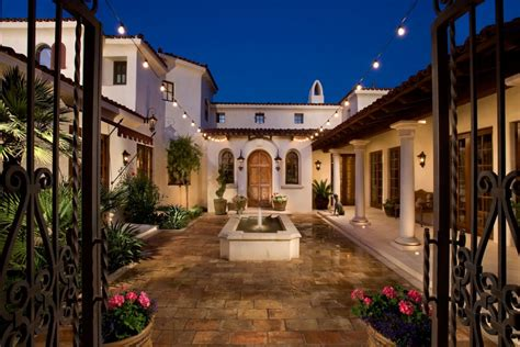 hacienda style house hacienda style homes courtyard with wrought iron gate in