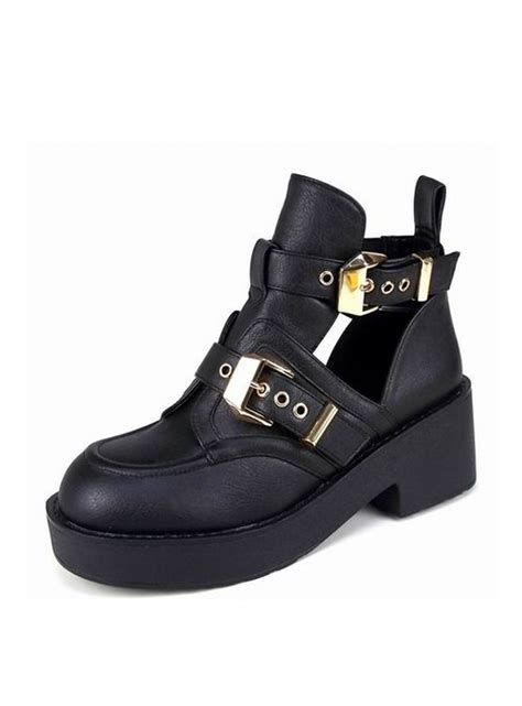 black chunky boots black chunky cut out gold buckle ankle boots