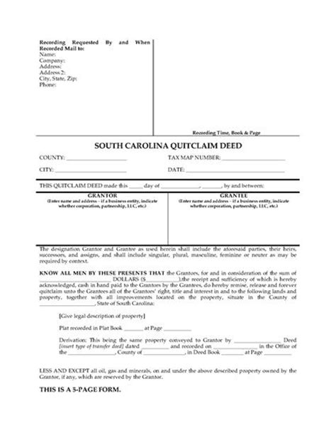 south carolina quitclaim deed for joint ownership legal