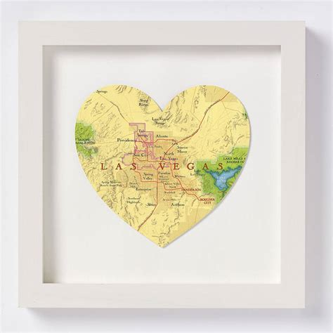 las vegas map heart print wedding anniversary gift by