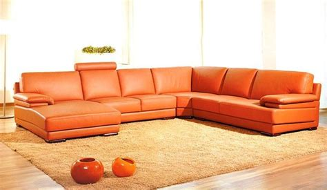 Living Room Sectionals With Chaise Orange Sectional Leather Sofa With Chaise Modern