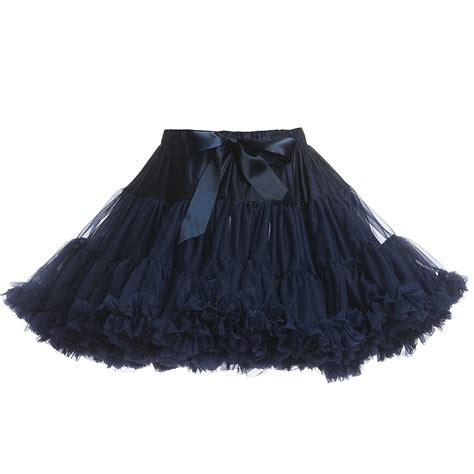 s navy blue chiffon frilled tutu skirt