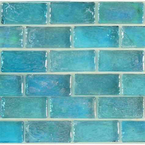 Kitchen Metal Backsplash by Aqua Blue Brick Uniform Iridescent Glass Tile Glossy Pool