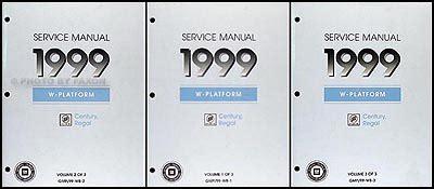 automotive service manuals 1999 buick century user handbook 1999 buick regal century repair shop manual original 3 volume set