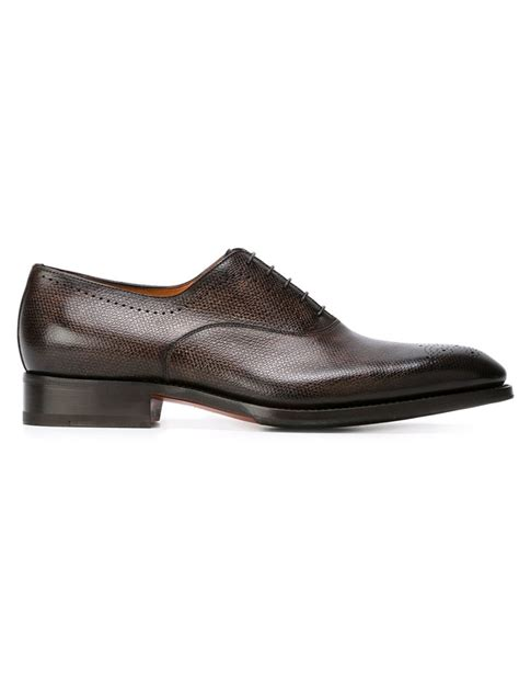santoni oxford shoes santoni broguing detail oxford shoes in brown for lyst