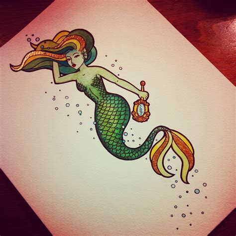 latest traditional mermaid tattoo print real photo