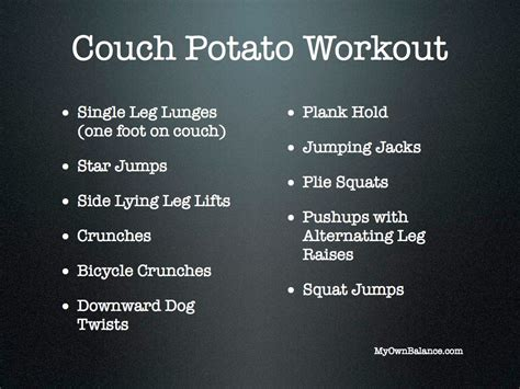 couch workout couch potato workout balance barre fitness
